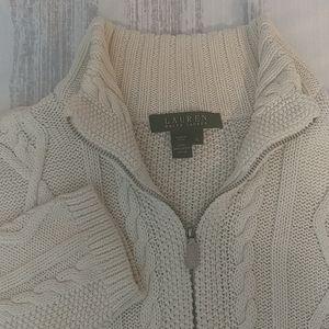 Lauren Ralph Lauren Cable Knit Zip Up Sweater